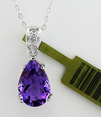 GENUINE 6.63 Cts AMETHYST & WHITE SAPPHIRE NECKLACE .925 SILVER * New with Tag