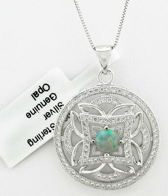 GENUINE 0.44 Cts OPAL & WHITE SAPPHIRE PENDANT NECKLACE .925 Silver *** NWT