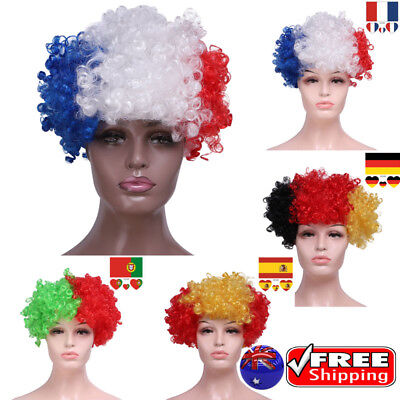 FIFA WORLD CUP Sport Fan Afro Flag Wig Holiday Cosplay Adult Tattoo Face Paint