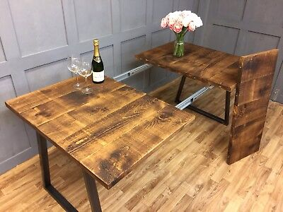 Industrial Dining Table Farmhouse Reclaimed Extendable Table Rustic Antique Oak