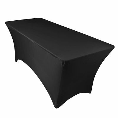 Black Tablecloth 6ft Rectangular Stretch Table Cloth Fitted Banquet Cover Event