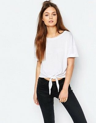 0d132343 ZARA KNOTTED FRONT T-Shirt Short Sleeve New Striped Purple Top Size ...