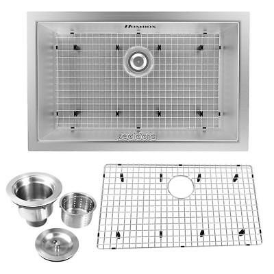 """Top 28/32"""" Stainless Steel Farmhouse Front Apron Single Bowl Kitchen Sink New FF"""