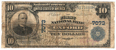 1902 $10 The First National Bank of Oxford Alabama Ch 7073 Very Good