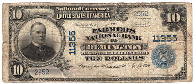 1902 $10 The Farmers National Bank of Remington, Indiana Charter 11355 Fine
