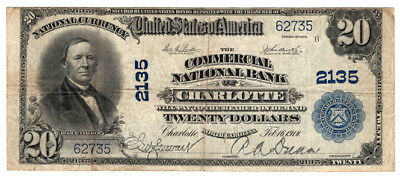 1902 $20 The Commercial National Bank of Charlotte North Carolina Ch 2135 Fine