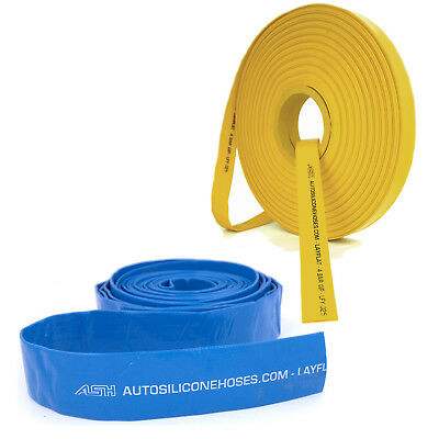 Blue Yellow Layflat Pipes - PVC Water Hose Discharge Pump Lay Flat Irrigation
