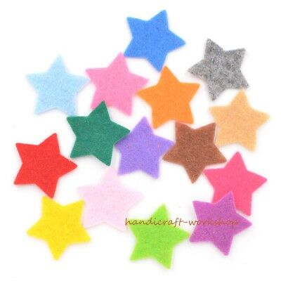 200Pcs Mixed Fabric Star Applique Felt Decor Patches for Kids Craft/Card Making