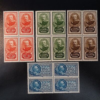 France Colony Morocco N°150/152 + Pa N°40 Block 4 Neuf / Value