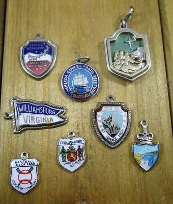 Charms Enamel Travel Shields Vintage Sterling Silver | Lot of 8 | 19.5 g