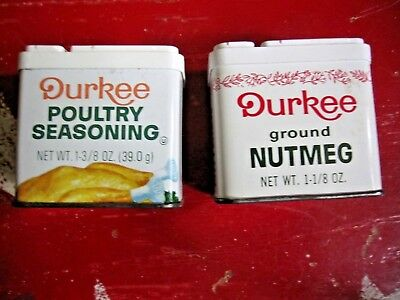 2 Vintage SPICE TINS Durkee Poultry Seasoning Nutmeg farmhouse kitchen