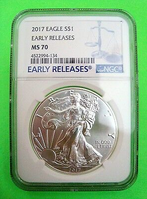 2017 AMERICAN SILVER EAGLE NGC MS70 EARLY RELEASES BLUE LABEL 1oz Coin  MINT