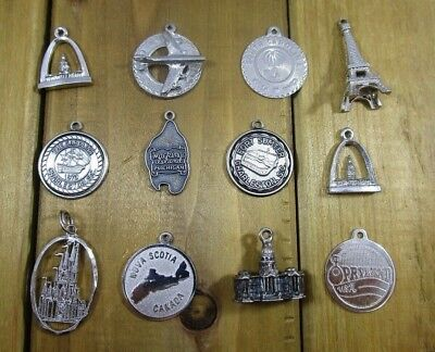 Charms Travel/Destinations Vintage Sterling Silver | Lot of 12 | 28.3 g