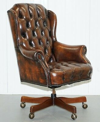 Restored 1960's Chesterfield Cigar Brown Leather Directors Captains Office Chair