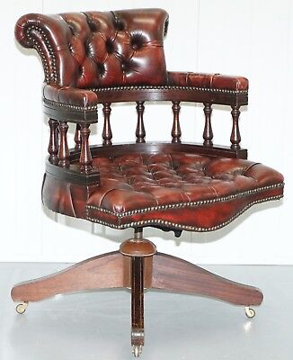Rare 1967 Stamped Chesterfield Oxblood Leather Captains Directors Office Chair