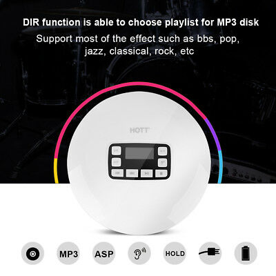 HOTT Portable Shockproof Bluetooth HIFI Stereo CD Music Player with Earphones