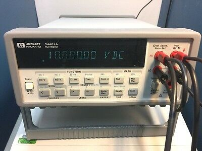 HP Agilent Keysight 34401A DIGITAL MULTIMETER  --> Calibrated <-- w/ test leads