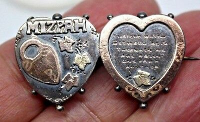Beautiful Antique MIZPAH Double Heart Sterling Gold Hallmarked Victorian Pin