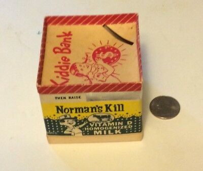 Very Rare Normans Kill Dairy Milk Box Container Kiddie Bank Albany NY