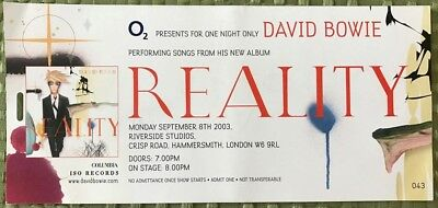 David Bowie Concert Ticket - Hammersmith September 8 2003 - A Reality Tour  Rare