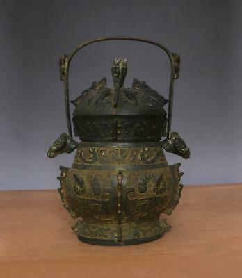 Large Antique Chinese Bronze or Copper You Wine Pot