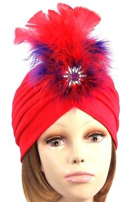 Turban Hat Starburst Crystal Jewel Feathers Red Purple Marabou Society Ladies