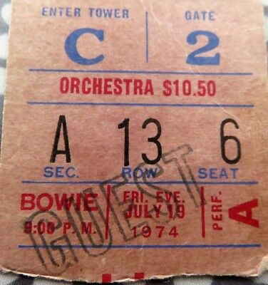 David Bowie Concert Ticket - Msg New York - July 19 1974 - Diamond Dogs Tour