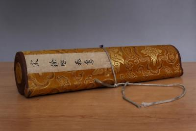 Xu Xi Signed Old Chinese Hand Painted Calligraphy Scroll w/Parrot