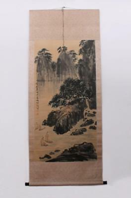 Hu Peiheng Signed Old Chinese Hand Painted Calligraphy Scroll w/River