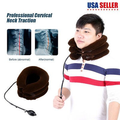 Inflatable Cervical Neck Traction Device Necksmith 3 layer Cradle Pain Relief US