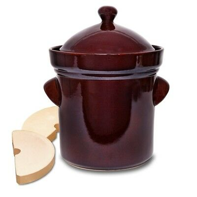 The Sausage Maker Polish Style Fermenting Crock w/ Stone Weights - 5 Liter