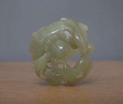Fine Chinese Celadon Carved Two Sheep Nephrite Hetian Jade Pendant