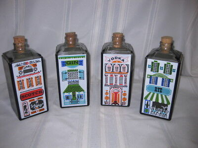 4 LIQUOR DECANTER GLASS HANDPAINTED GIN, VODKA, RYE & SCOTCH w/CORK STOPPER vtg