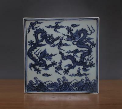 25CM Xuande Signed Antique Chinese Blue & White Porcelain Dish w/ Dragon