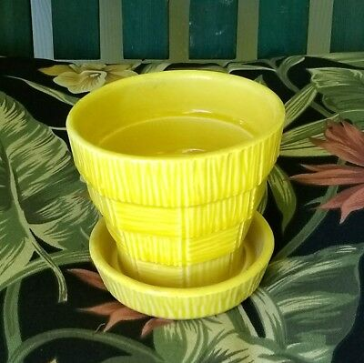 vintage McCoy pottery planter yellow crosshatch