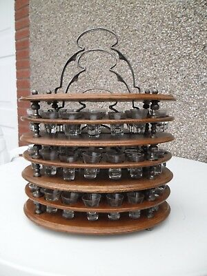 Oak & E.p.n.s 3 Tier Stacking Communion Stand / Tray With  78 Glasses Townshends