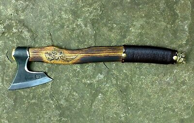 1 Axe Hand Forged Hatchet Viking Barbarian Celtic With Bronze Wild Boar Head