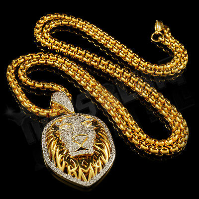 18K Gold Iced Out CZ Tiger King Lion Pendant Stainless Steel Box Chain Necklace