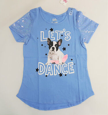 NWT Justice Kid Girl Size 8 Blue Sequin Ballerina Tutu French Bull Dog Puppy Top