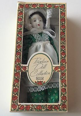 8 Inch Schmid Porcelain Doll Ornament  Vintage 1982 Green Dress