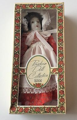 8 Inch Schmid Porcelain Doll Ornament  Vintage 1982 Red Dress