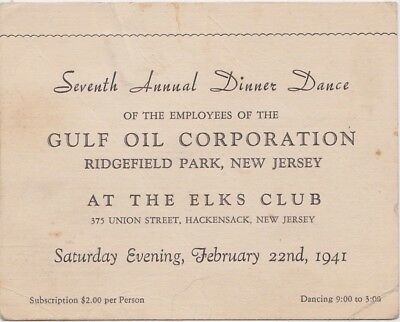 RARE - Vintage 1941 Gulf Oil, Dinner Dance For Employee Ticket - Elks Club NJ