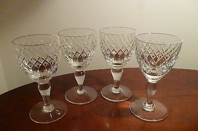 """4 Vintage Royal Brierley Crystal Coventry Pattern Wine Glasses 5¼""""- Signed - VGC"""