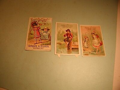 """3 Late 1800's """" Gowans & Stover """"  Used  Trade Cards"""
