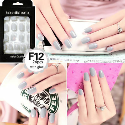 24Pcs Solid Color French False Nails Art Design Nail Tips With Glue model F12