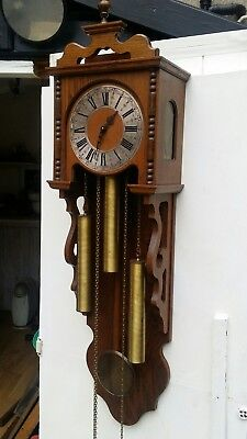 Large vintage oak german wall clock weight driven Westminster chimes