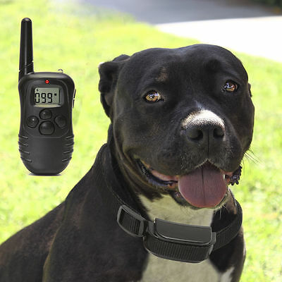 New Pet Dogs Remote Training Collar Electric LCD 100LV Shock Anti Bark Battery D