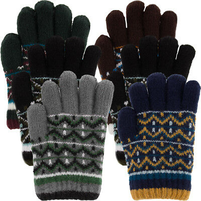 3 Pairs Boys Winter Kids Gloves Acrylic Soft Warm Knitted Sherpa Fleece Lining