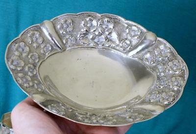 111g Greek Solid Silver Four Footed Bowl With Floral Embossed Shaped Border