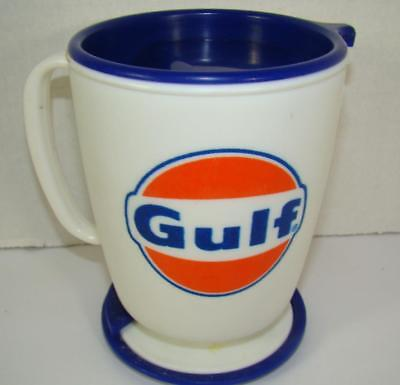 Vintage Gulf Oil Gas Company Coffee Mug Plastic Cup With Secure Stand